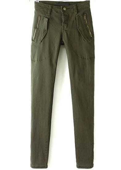 Green Slim Zipper Pockets Pant