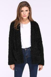 Black Long Sleeve Loose Wool Coat