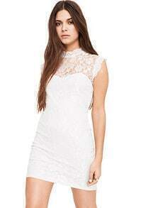White Sleeveless Backless Bodycon Lace Dress