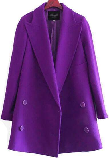 Purple Lapel Long Sleeve Buttons Woolen Coat