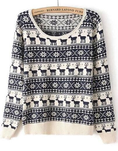 Navy Long Sleeve Deer Pattern Knit Sweater