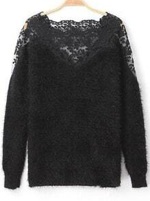 Black Contrast Lace Long Sleeve Mohair Sweater