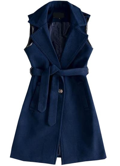 Blue Lapel Sleeveless Belt Woolen Coat