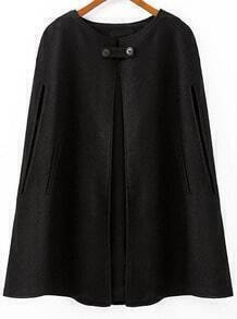 Black Round Neck Loose Woolen Cape Coat
