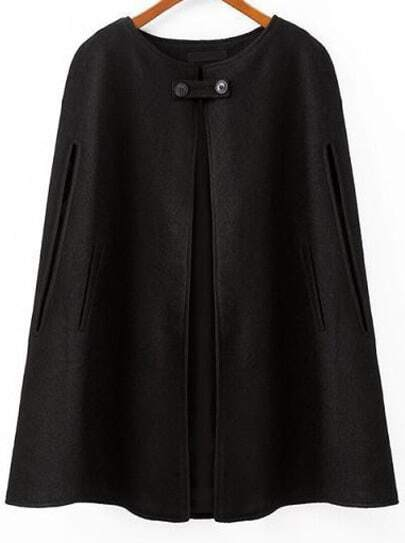 Black Round Neck Loose Woolen Cape Coat -SheIn(Sheinside)