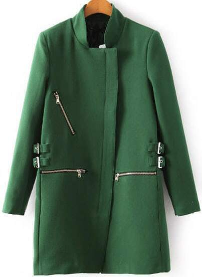 Green Stand Collar Zipper Loose Coat