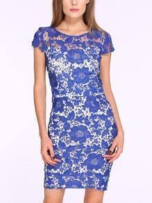 Blue Cap Sleeve Crochet Lace Dress