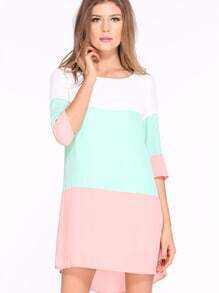 White Green Pink Color Block Dress
