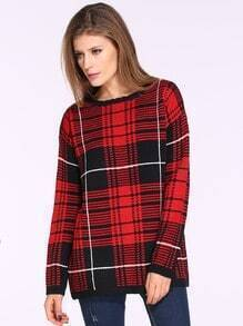 Red Long Sleeve Plaid Loose Sweater
