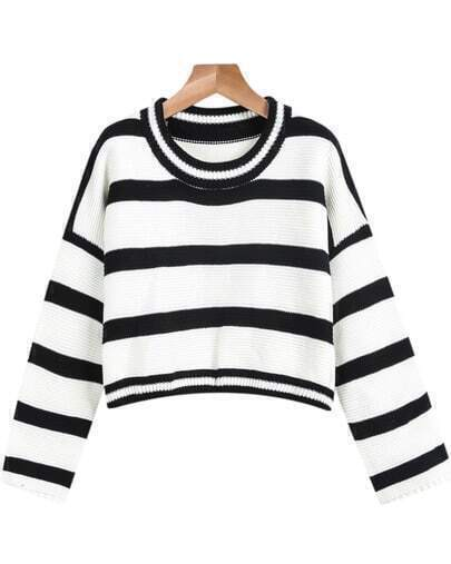 White Long Sleeve Striped Crop Sweater