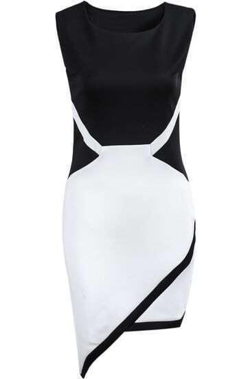 Black White Sleeveless Asymmetrical Bodycon Dress