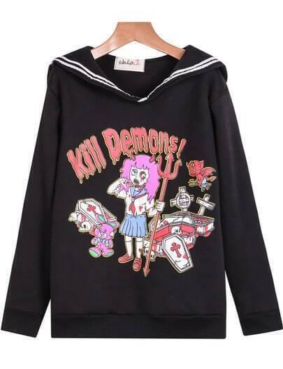 Black Long Sleeve Cross Demons Print Sweatshirt