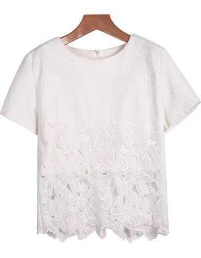 White Short Sleeve Lace Chiffon Blouse