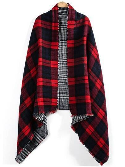 Red Plaid Fringe Both Sides Scarve
