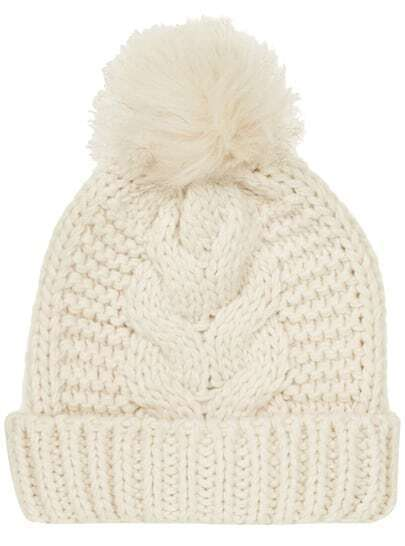 White Flange Fur Ball Knit Hat