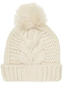 White Flange Fur Ball Knit Hat