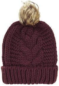 Red Flange Fur Ball Knit Hat