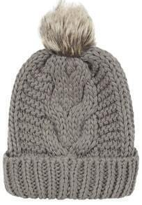Grey Flange Fur Ball Knit Hat