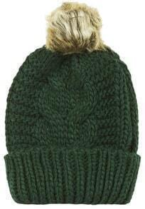 Green Flange Fur Ball Knit Hat