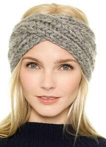 Grey Metallic Yoke Knit No Cap Hat