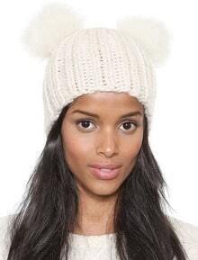 Beige Twisted Ball Knit Hat