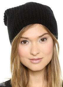 Black Knit Dome Hat