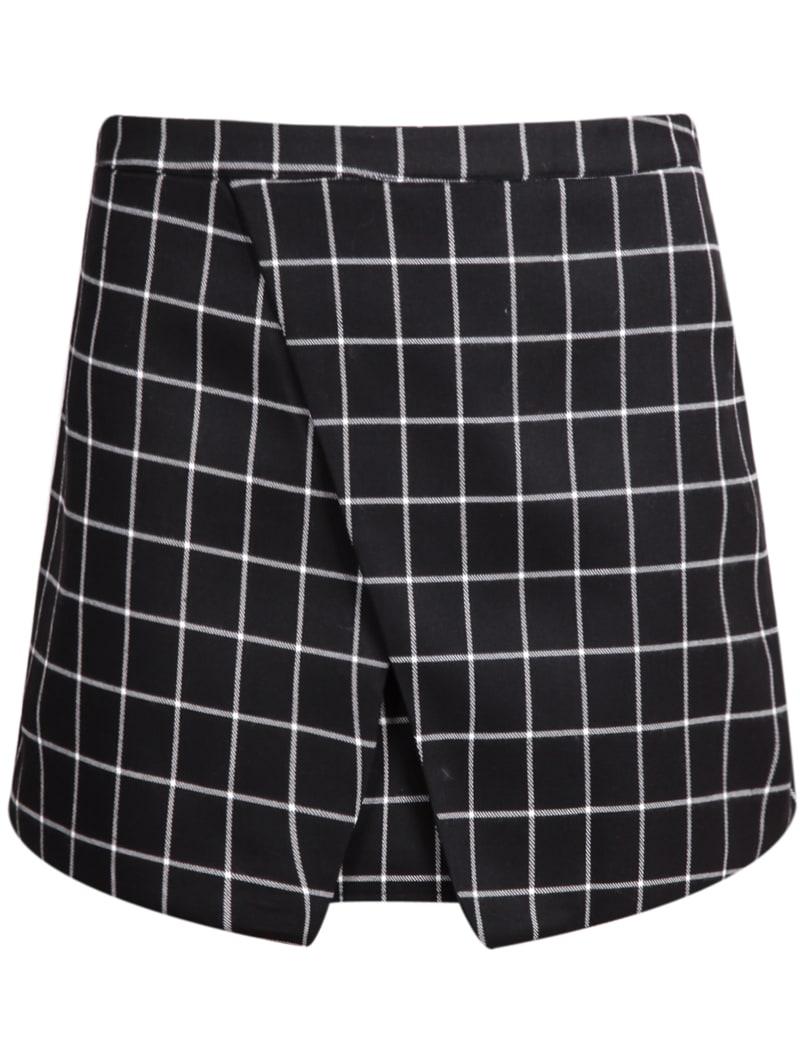 Black Plaid Bodycon Skirt -SheIn(Sheinside)