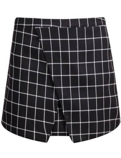 Black Plaid Bodycon Skirt