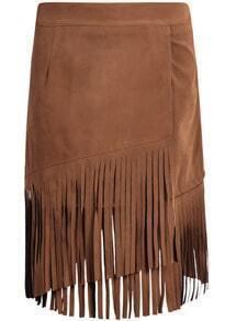 Khaki Tassel Velvet Skirt