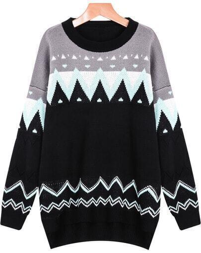 Black Long Sleeve Geometric Print Sweater
