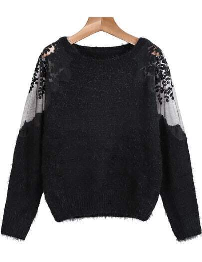 Black Contrast Hollow Lace Long Sleeve Mohair Sweater
