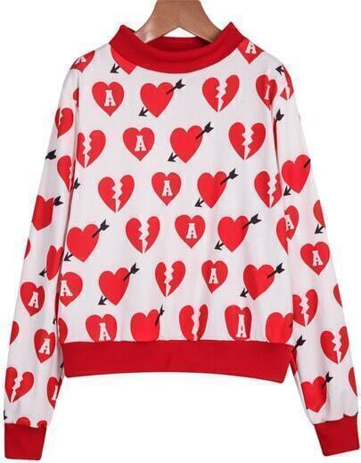 Red Long Sleeve Hearts Print Crop Sweatshirt