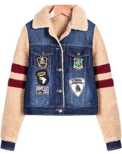 Blue Contrast Long Sleeve Crop Denim Jacket