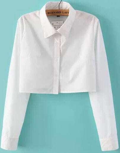 White Lapel Long Sleeve Crop Blouse