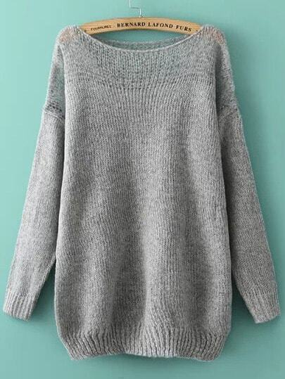 Grey Off the Shoulder Mohair Oversize Sweater
