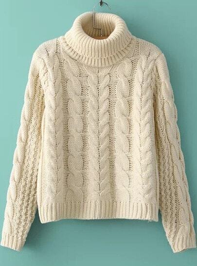 Beige High Neck Long Sleeve Cable Knit Sweater