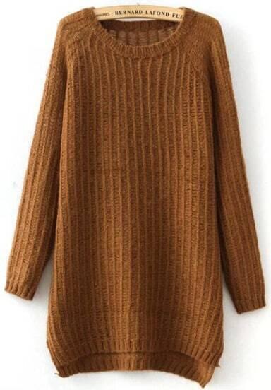 Khaki Long Sleeve Split Loose Knit Sweater