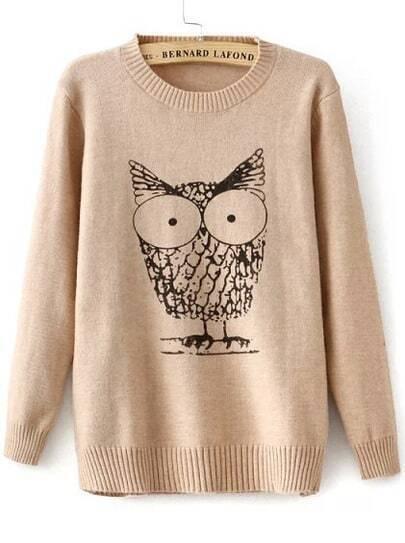Apricot Long Sleeve Owl Print Knit Sweater