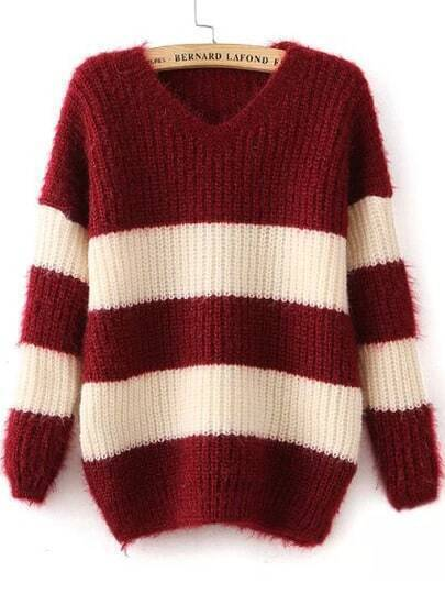 Red V Neck Long Sleeve Striped Sweater