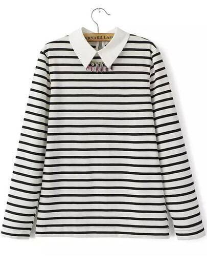 White Long Sleeve Striped Sweater With Necklace
