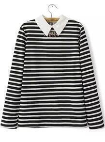 Black Long Sleeve Striped Sweater With Necklace