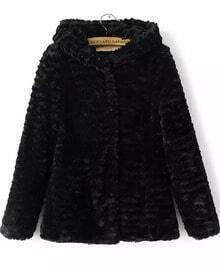 Black Hooded Long Sleeve Plush Loose Coat