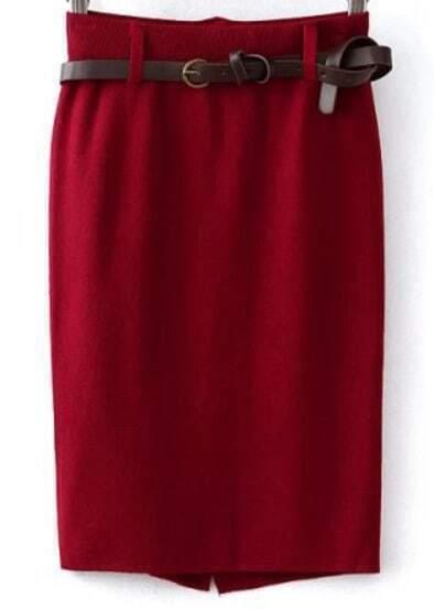 Red Bodycon Knit Split Belt Skirt