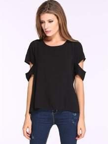 Black Short Sleeve Split Casual T-shirt