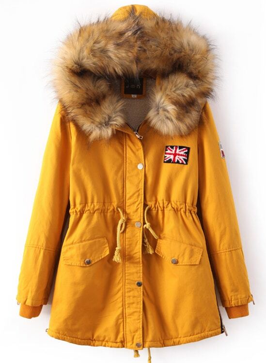 Yellow Faux Fur Hooded Drawstring Union Jack Coat -SheIn(Sheinside)