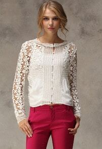 White Long Sleeve Floral Crochet Hollow Blouse