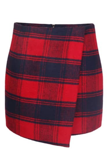 Red Blue Plaid Bodycon Skirt -SheIn(Sheinside)