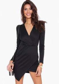 Black Wrap Asymmetrical Long Sleeve Dress