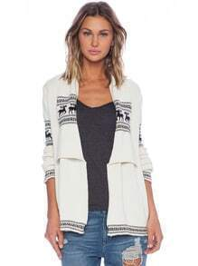 White Long Sleeve Deer Cardigan Sweater