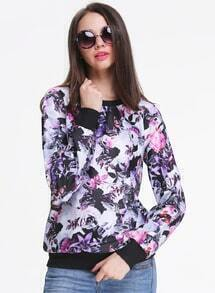 Purple Long Sleeve Floral Print Sweatshirt